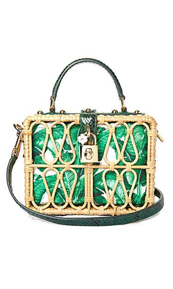 Dolce & Gabbana Banana leaf-print canvas and wicker clutch box bag #summer #tropical