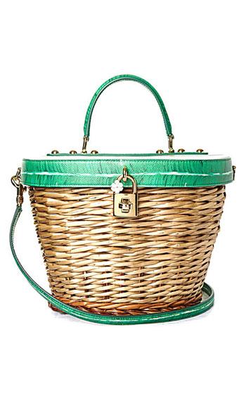 Dolce & Gabbana Banana leaf-print leather and wicker basket beach tote bag #Summer