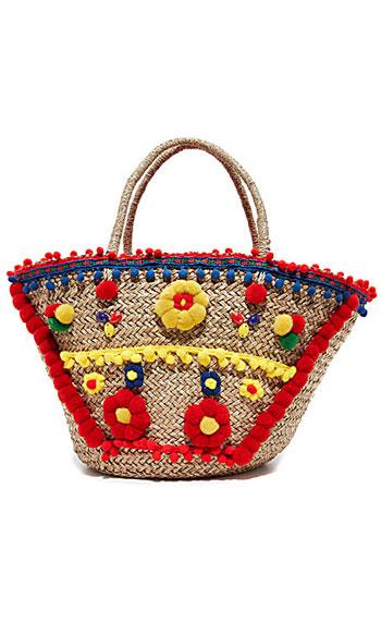 Mystique Pom Pom Straw Summer Tote Bag