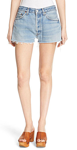 Re/Done 'The Short' Reconstructed Frayed Hem Denim Shorts