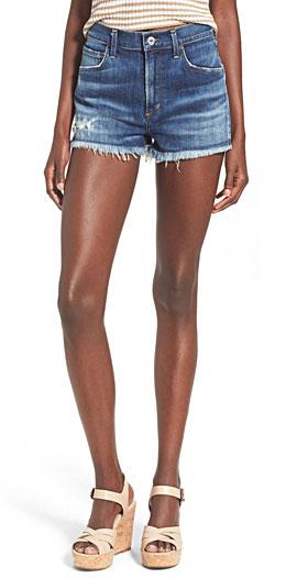 A Gold E 'Jaden' High Rise Cutoff Denim Shorts with Frayed Hems