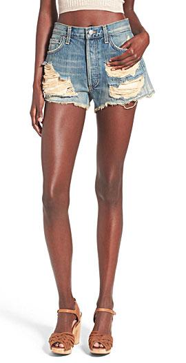 A Gold E 'Parker' Destroyed Cutoff Denim Shorts