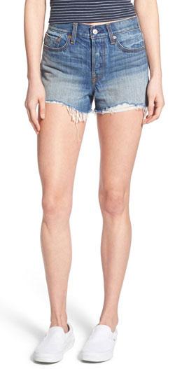 Levi's High Rise Cutoff Denim Shorts with Frayed Hems