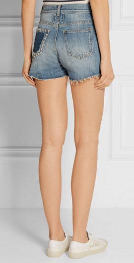 Saint Laurent Studded high-rise denim shorts with Frayed Hems