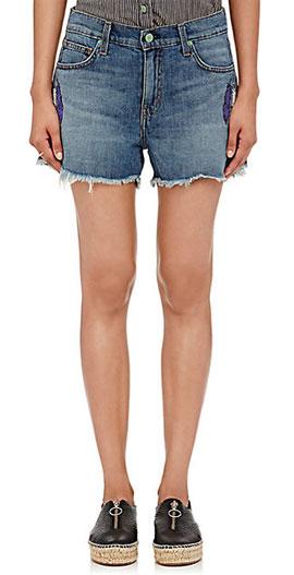 """SANDRINE ROSE """"The Short"""" Denim Shorts with Frayed Hems"""