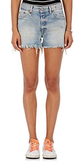 R13 Cotton Cutoff Frayed Denim Shorts
