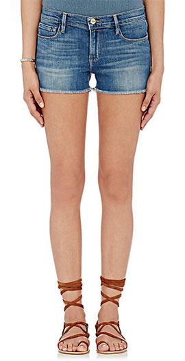 Frame Le Cutoff Frayed Hem Denim Shorts