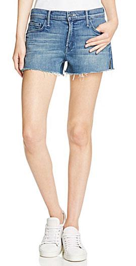 MOTHER The Teaser Slit Frayed Denim Shorts