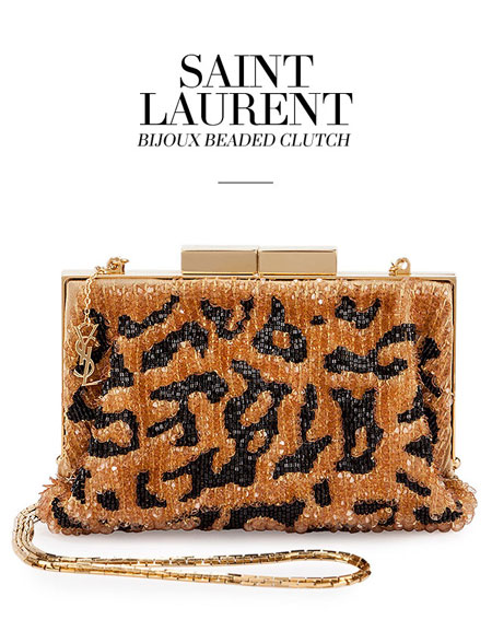 Saint Laurent Bijoux Beaded Leopard-Print Clutch Bag