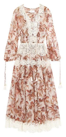 Zimmermann Good Times lace-trimmed printed silk-chiffon dress