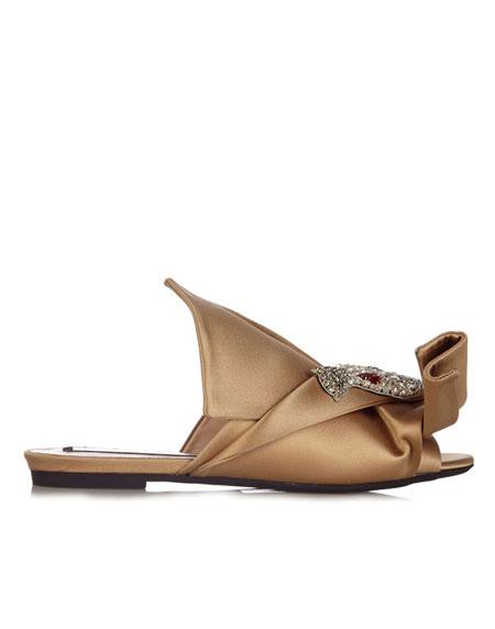 No 21 Crystal-embellished satin slide sandal