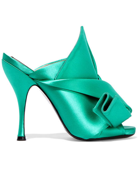 No 21 Knotted Satin Mule Sandal in Emerald Green