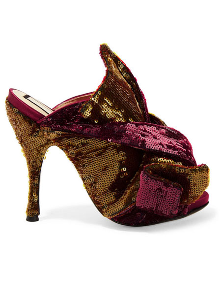 No 21 Knotted sequined satin mules