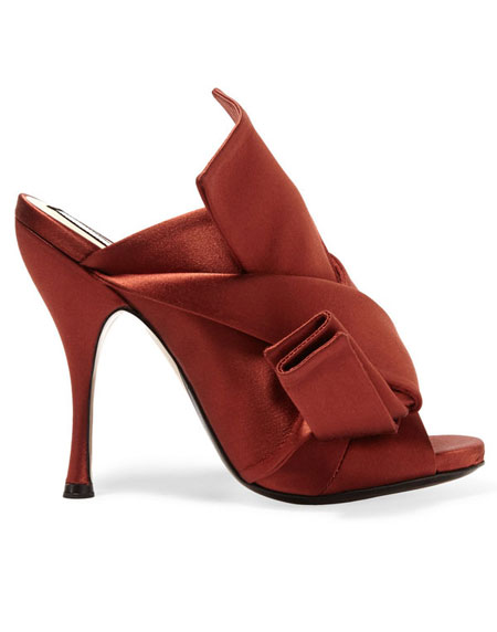 No 21 Knotted Satin Mule Sandal in Orange Red