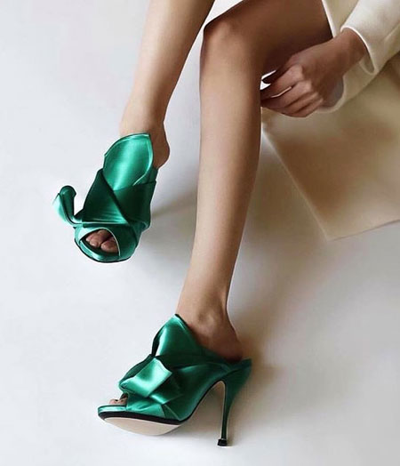 No 21 Knotted Satin Mules #Shoes
