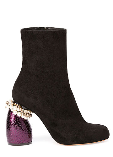 Dries van Noten Suede Boot with Embellished Heels