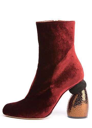 Dries van Noten Velvet Ankle Boots with Embossed Heels