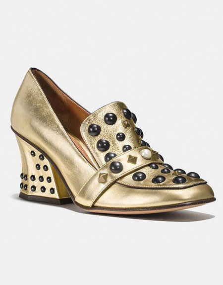 Coach Bejeweled Metallic Loafers Pumps
