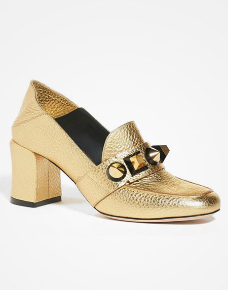 Fendi Gold Metallic Loafers