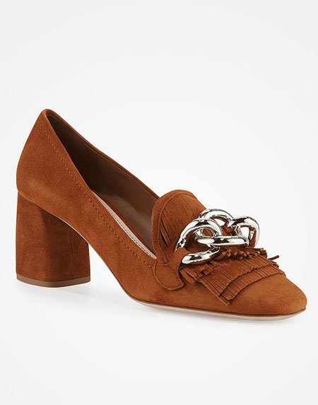 Miu Miu Suede Kiltie Loafers Pumps