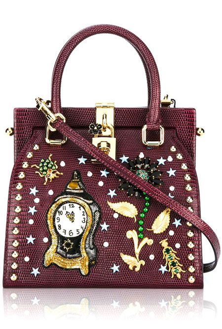Dolce & Gabbana Clock Flower Embellished Tote Bag