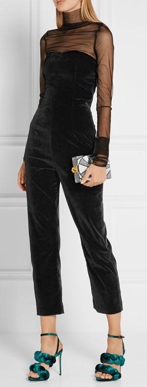 Isa Arfen Black Velvet Jumpsuit | Lovika