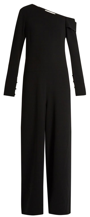 Tibi One Shoulder Wide-Leg Jumpsuit #Black | Lovika