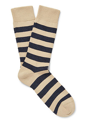 OLIVER SPENCER Striped Stretch Cotton-Blend Socks | Lovika
