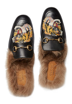 Gucci Princetown Fur-Lined Slipper