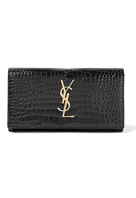 SAINT LAURENT Croc-effect patent-leather continental wallet | Lovika