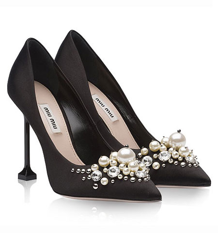 Miu Miu Pearl Embellished Pumps