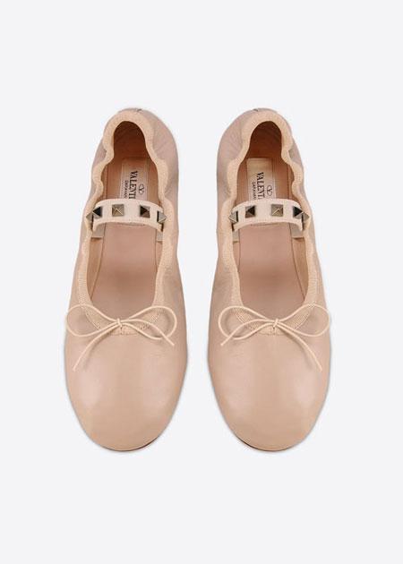 Valentino Rockstud Ballerina Flats | Lovika.com