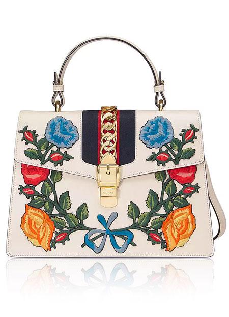 Gucci Sylvie Floral Satchel Bag | Lovika