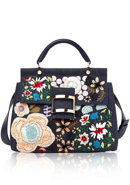 Roger Vivier Viv Cabas Satchel Bag | Lovika #spring #floral