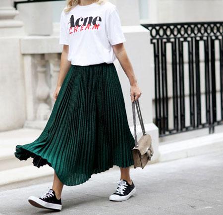 White Graphic T Shirt + Midi Skirt | Lovika Outfit Ideas #Tee #OOTD