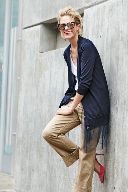 White T Shirt + Cardigan + Khaki Ankle Pants | Lovika Outfit Ideas #Tee #OOTD