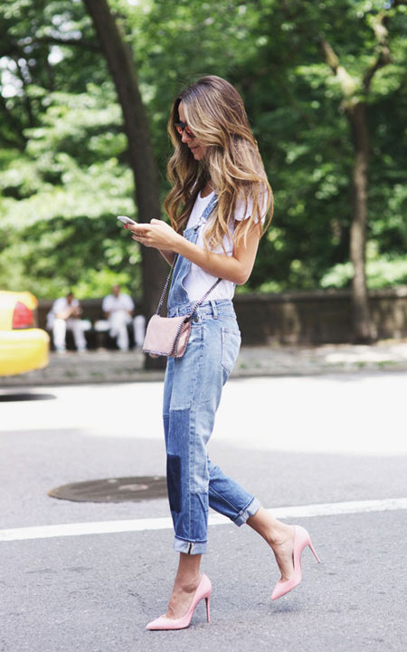 White T-Shirt + Overalls + Heels | Lovika Outfit Ideas #Tee #OOTD