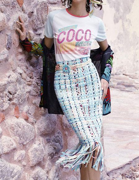 White Graphic T Shirt + Fringe Midi Skirt | Lovika Outfit Ideas #Tee #OOTD