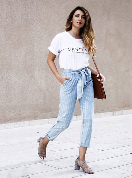 White Grahpic T Shirt + Bow Waist Pants | Lovika Outfit Ideas #Tee #OOTD