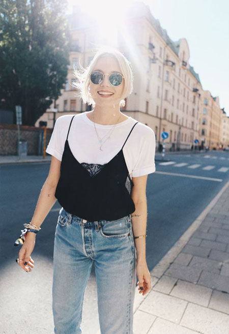 White T Shirt + Cami + High-Rise Jeans | Lovika Outfit Ideas #Tee #OOTD