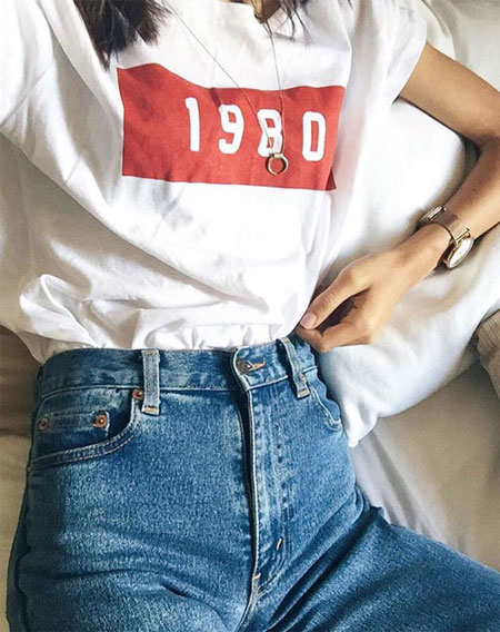 White Graphic T Shirt + High-Rise Jeans | Lovika Outfit Ideas #Tee #OOTD