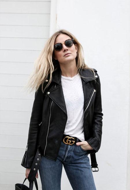 White T Shirt + Biker Jacket + Belt + Jeans | Lovika Outfit Ideas #Tee #OOTD