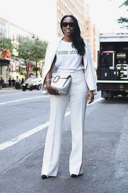 White graphic T-shirt over a matching suit | Lovika Outfit Ideas #Tee #OOTD