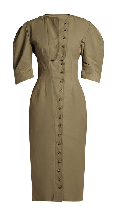 Stella McCartney round shoulder corset midi dress | Lovika