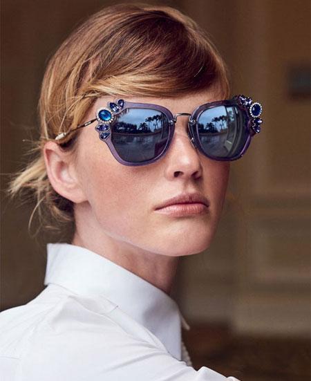 Miu Miu crystal-embellished sunglasses | Lovika #designer #sunglasses