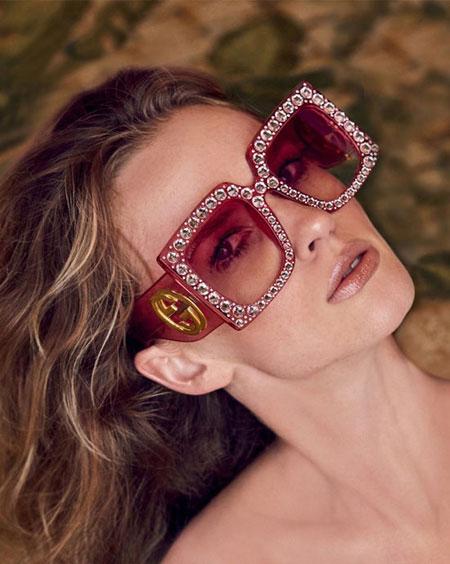 Gucci crystal-trim oversized square sunglasses   Lovika #designer #sunglasses