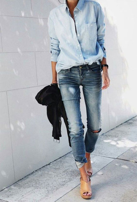 How to wear a denim shirt outfit with jeans in spring and summer | Lovika #OOTD