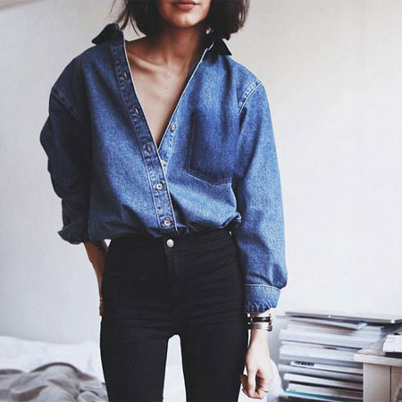 How to wear a denim shirt outfit in spring and summer | Lovika #OOTD
