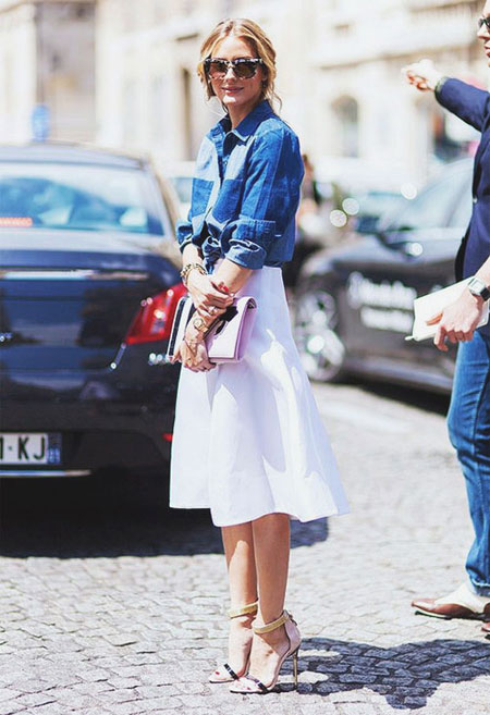 How to wear a denim shirt outfit with skirt in spring and summer   Lovika #OOTD