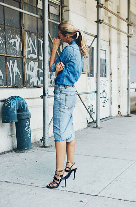 How to wear a denim shirt outfit with skirt in spring and summer | Lovika #OOTD